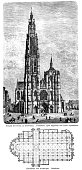 Woodcut of Cathedral of Our Lady, Antwerp, Belgium, facade and floor plan. Published in 1888.