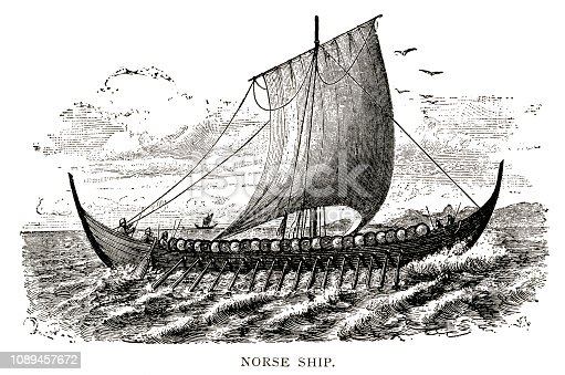 Woodcut of Norse ship.