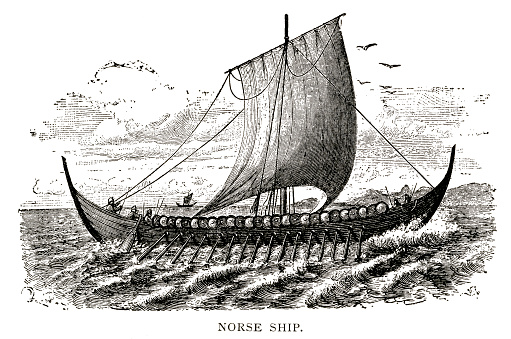 woodcut of Norse ship