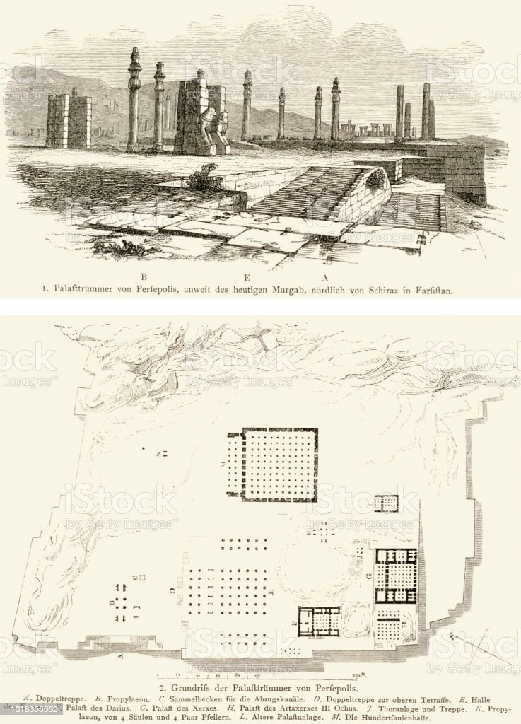 woodcut of palace ruins and site plan of Persepolis vector art illustration