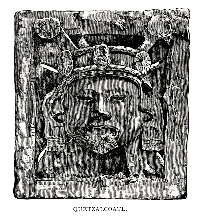 woodcut of Quetzalcoatl