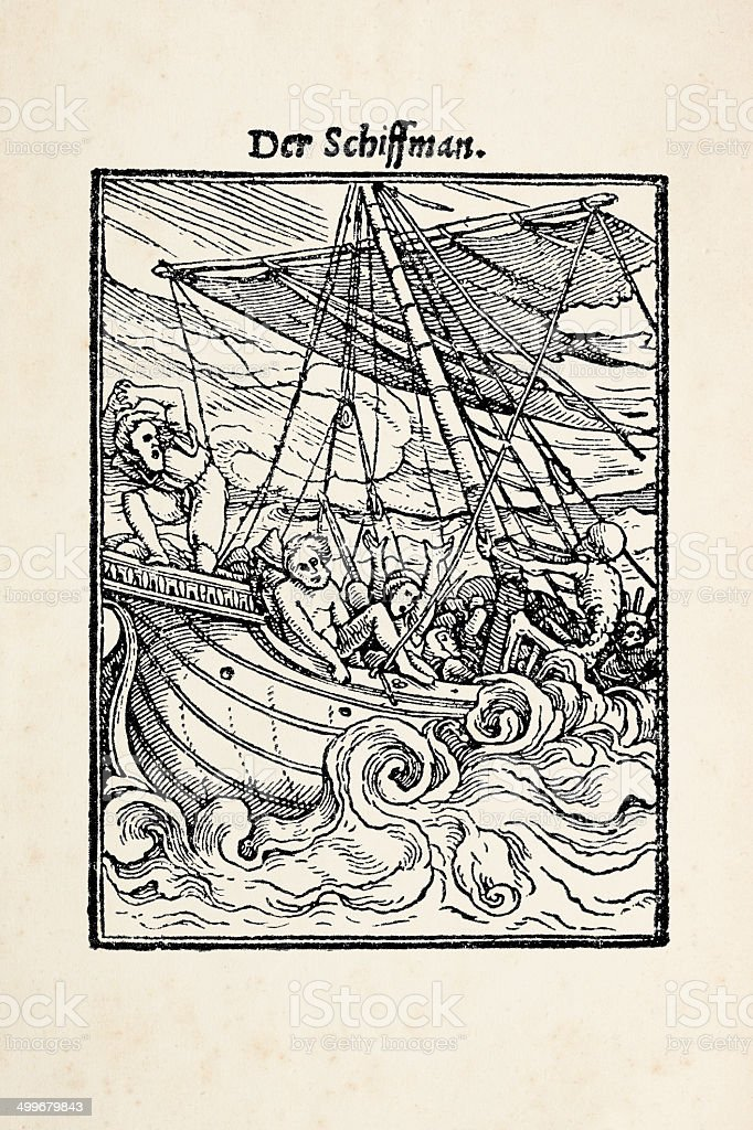 Woodcut of sailor from dance of death after Holbein royalty-free stock vector art