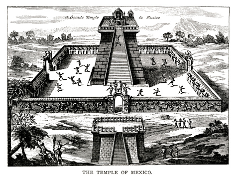 woodcut of the Grand Temple at Tenochtitlan, Mexico