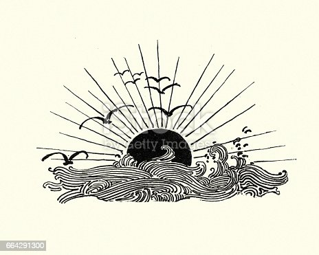Vintage engraving of a Woodcut of the setting sun over the sea
