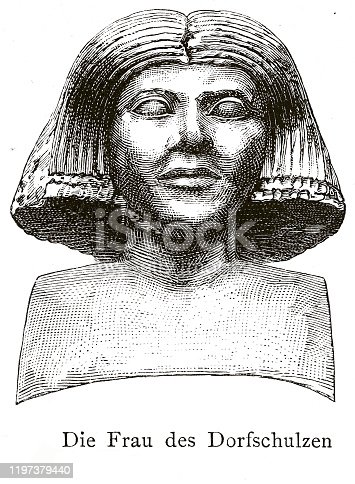 Woodcut of wood statue of wife of Kaaper. Found in Kaaper's mastaba (Saqqara C8) at Saqqara, Egypt. 4th Dynasty. Presently in Egyptian National Museum, Cairo, Egypt CG-33.