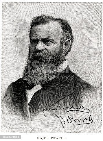 Woodcut portrait of John Wesley Powell (March 24, 1834