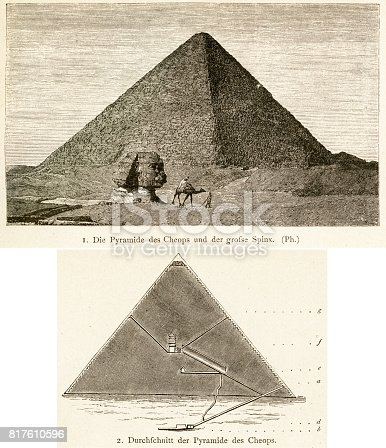 Woodcuts of Great Pyramid of Giza, also known as the Pyramid of Cheops or the Pyramid of Khufu, showing exterior and cross section and the Sphinx.