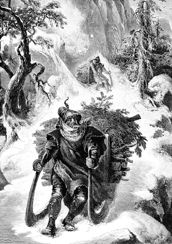 Woodcutters in the Black Forest - Victorian engraving