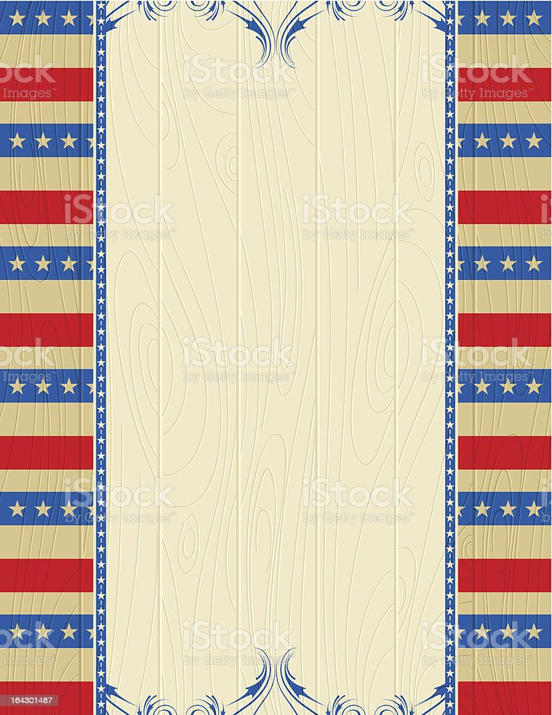 USA wooden background with decorative ornaments. royalty-free stock vector art