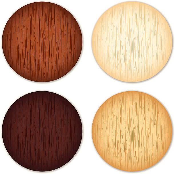 Wooden buttons vector art illustration