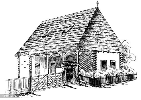 Illustration of a Wooden Hungarian house