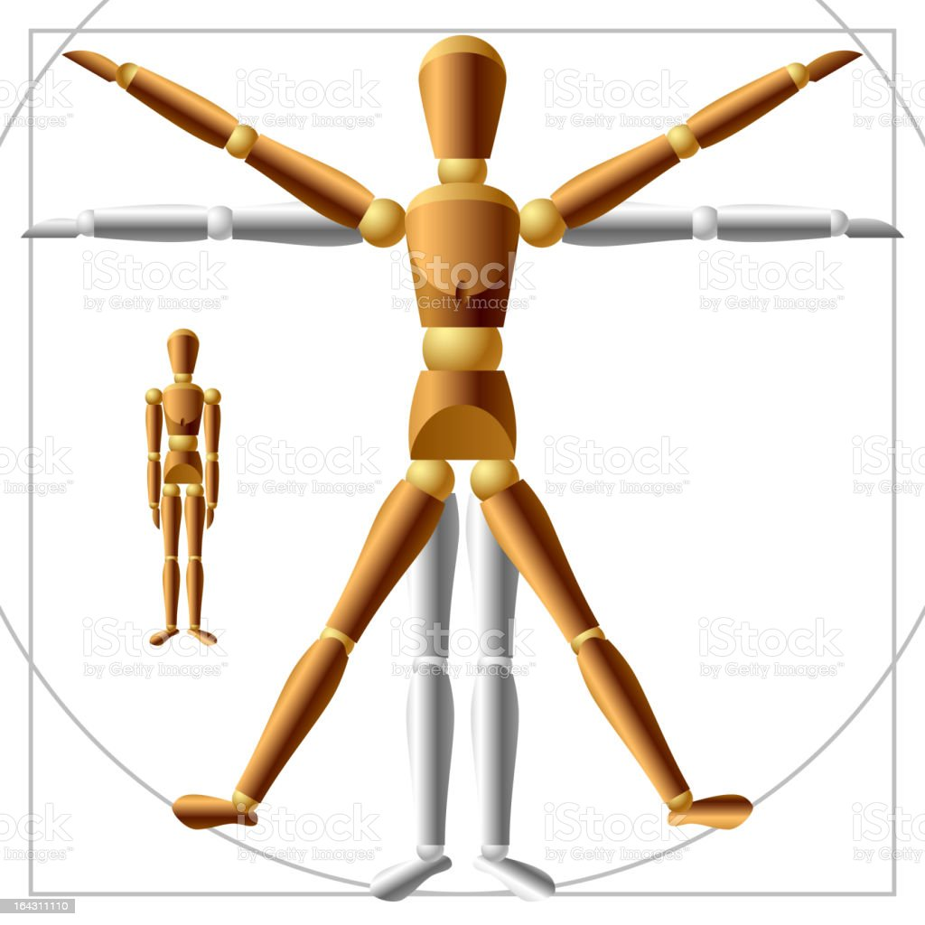 Wooden man vector art illustration