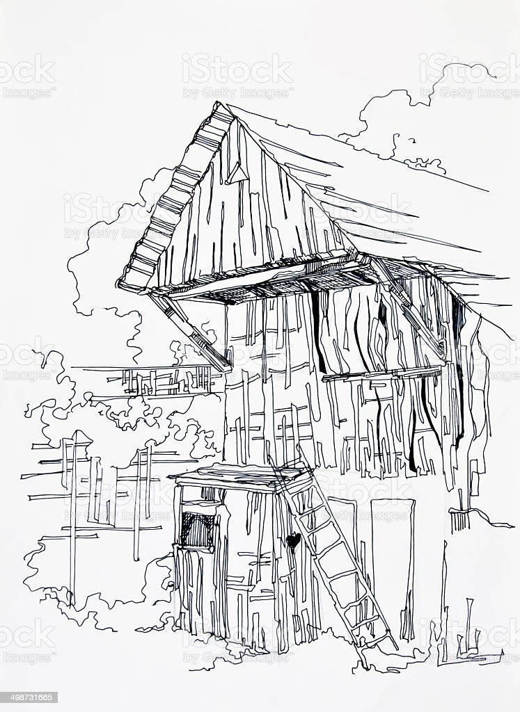 Wooden planks of the rural barn vector art illustration