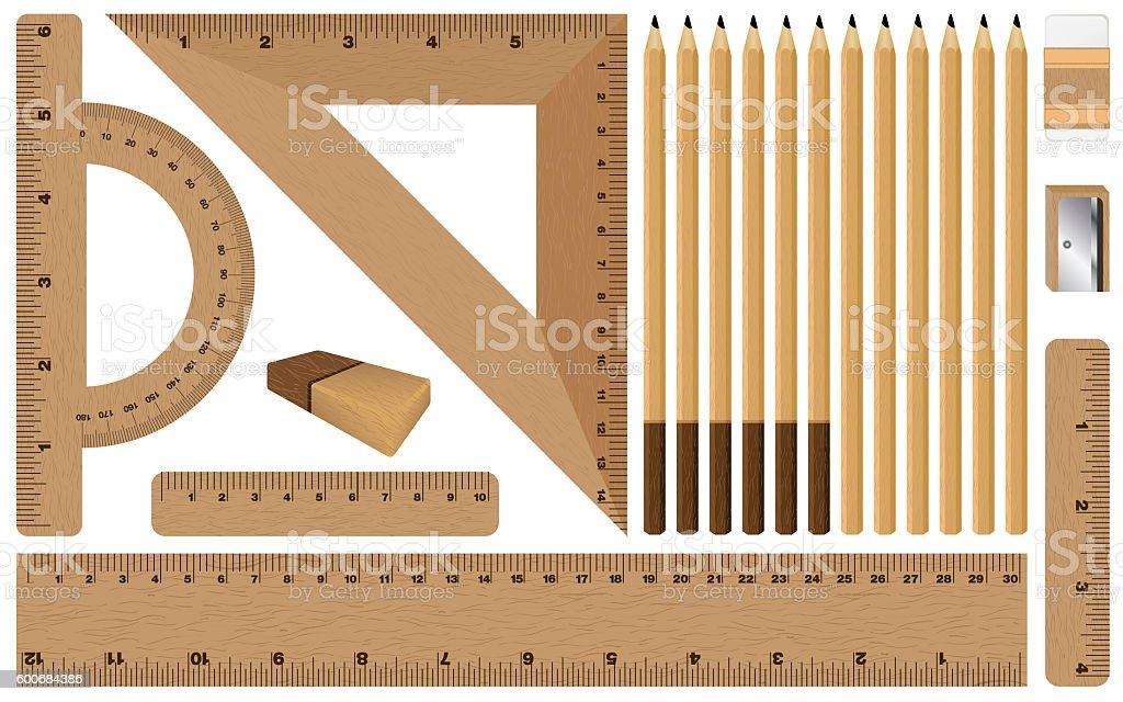 Wooden Ruler Pencil With Sharpener On White Background