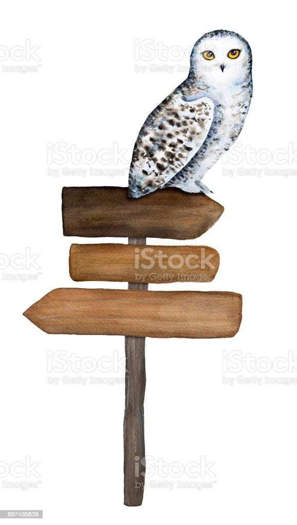 Madera signo lechuza carácter y sentado en él. - ilustración de arte vectorial