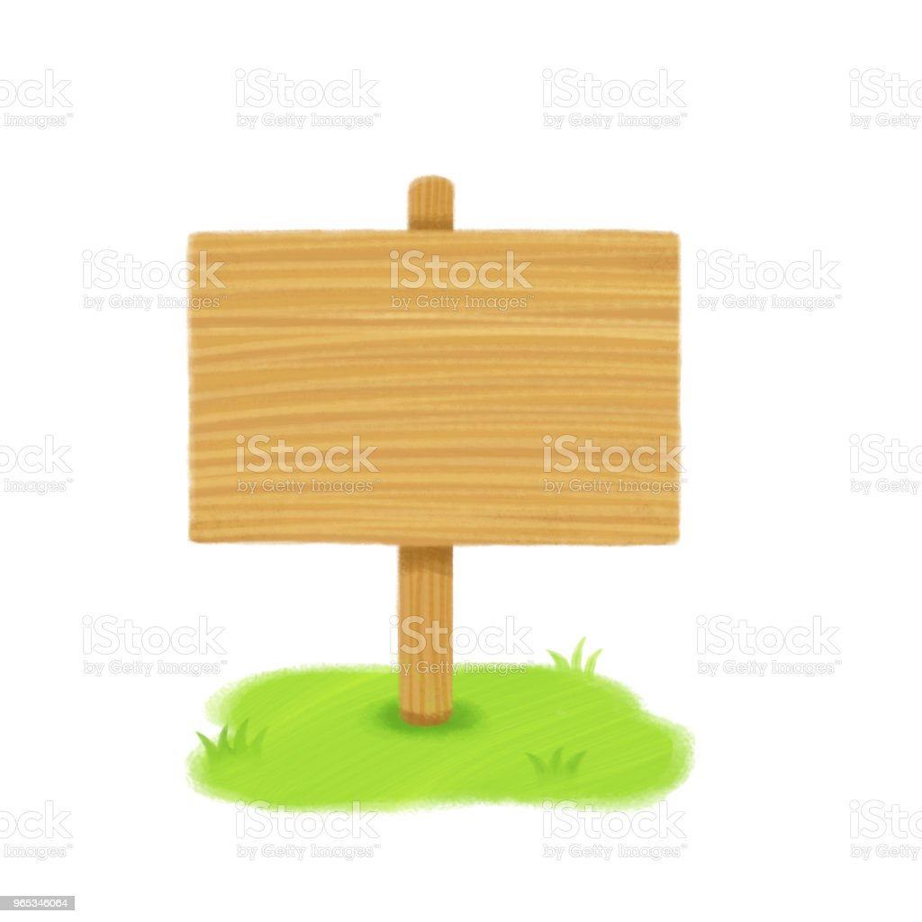 Wooden sign in green grass isolated on a white background.Digital painting illustration wooden sign in green grass isolated on a white backgrounddigital painting illustration - stockowe grafiki wektorowe i więcej obrazów baner royalty-free