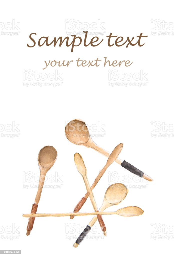 Wooden spoons with place for text vector art illustration