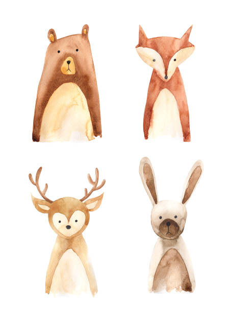 woodland animals - baby animals stock illustrations