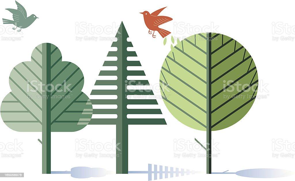 Woodland scene royalty-free stock vector art