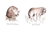istock Woodland watercolor cute animals wolf Scandinavian hyena animal, coyote forest nursery poster design. Isolated charecter 1251219391