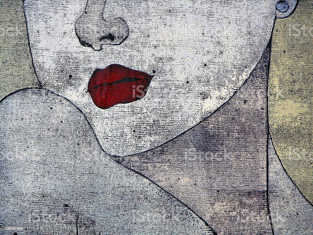Woodprint - portait of a woman vector art illustration