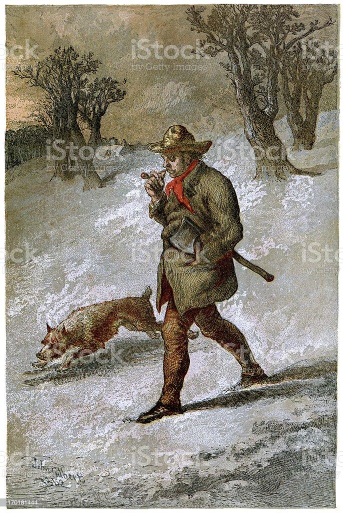 Woodsman and his dog royalty-free stock vector art