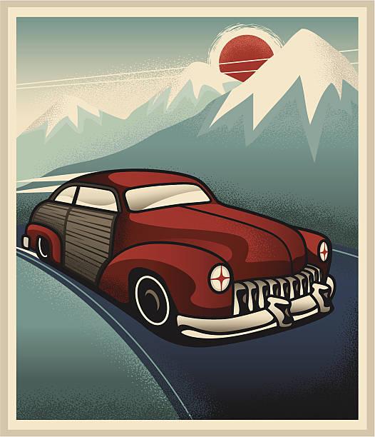 Woody Art Deco Poster vector art illustration