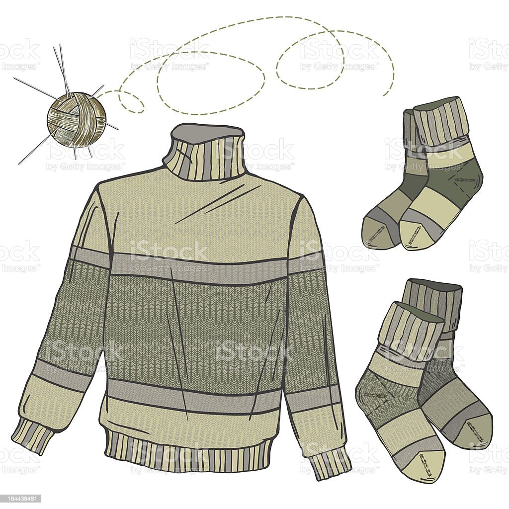 Wool sweater and socks royalty-free stock vector art