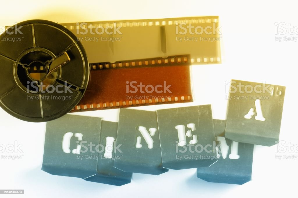 Word Cinema Made With Metallic Stencils Red Yellow Film