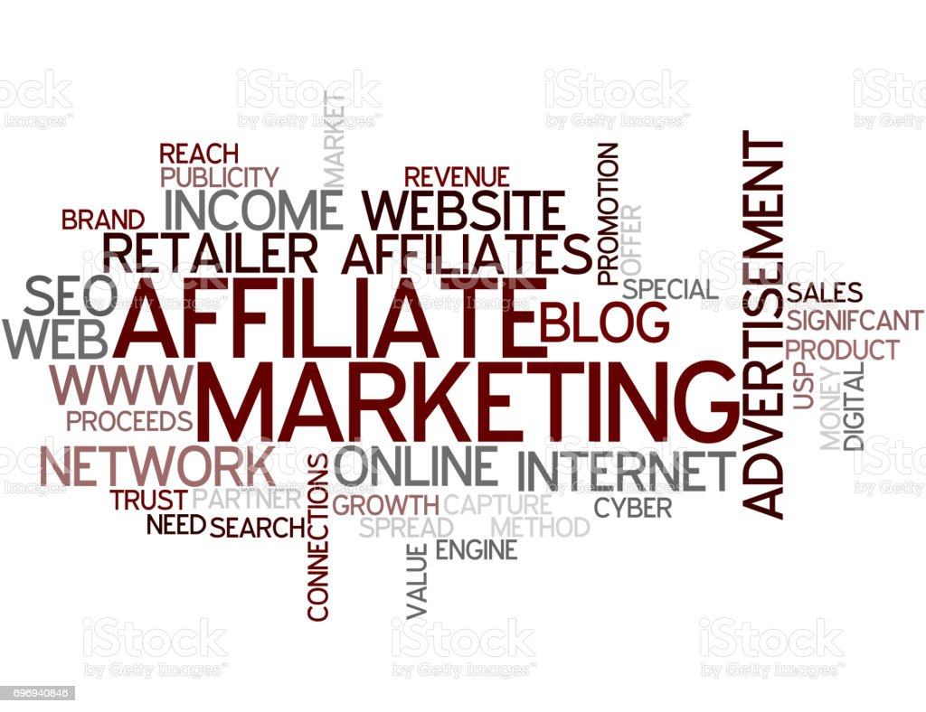 Word Cloud Affiliate Marketing vector art illustration
