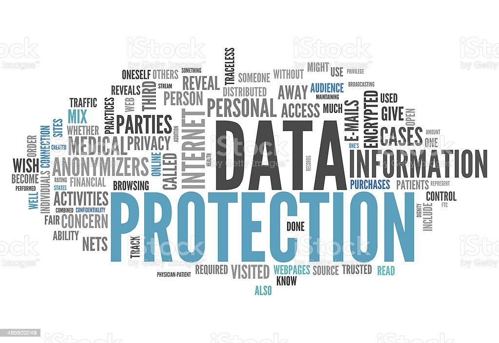 Word Cloud Data Protection vector art illustration