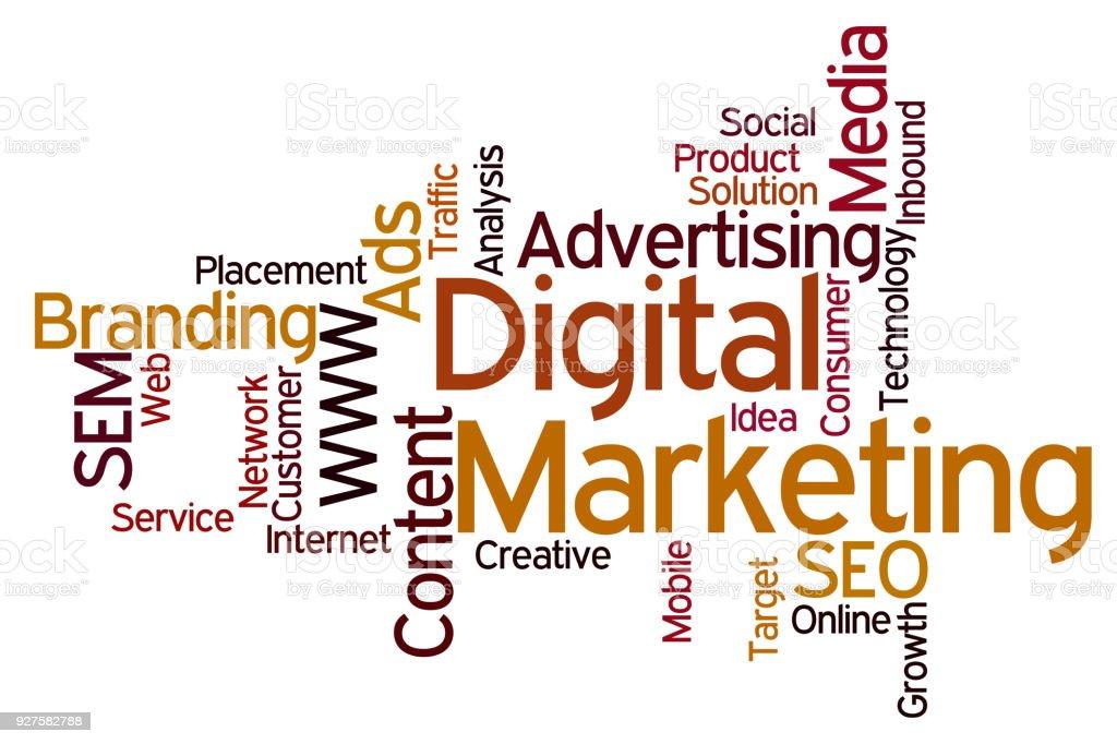Word Cloud Digital Marketing vector art illustration