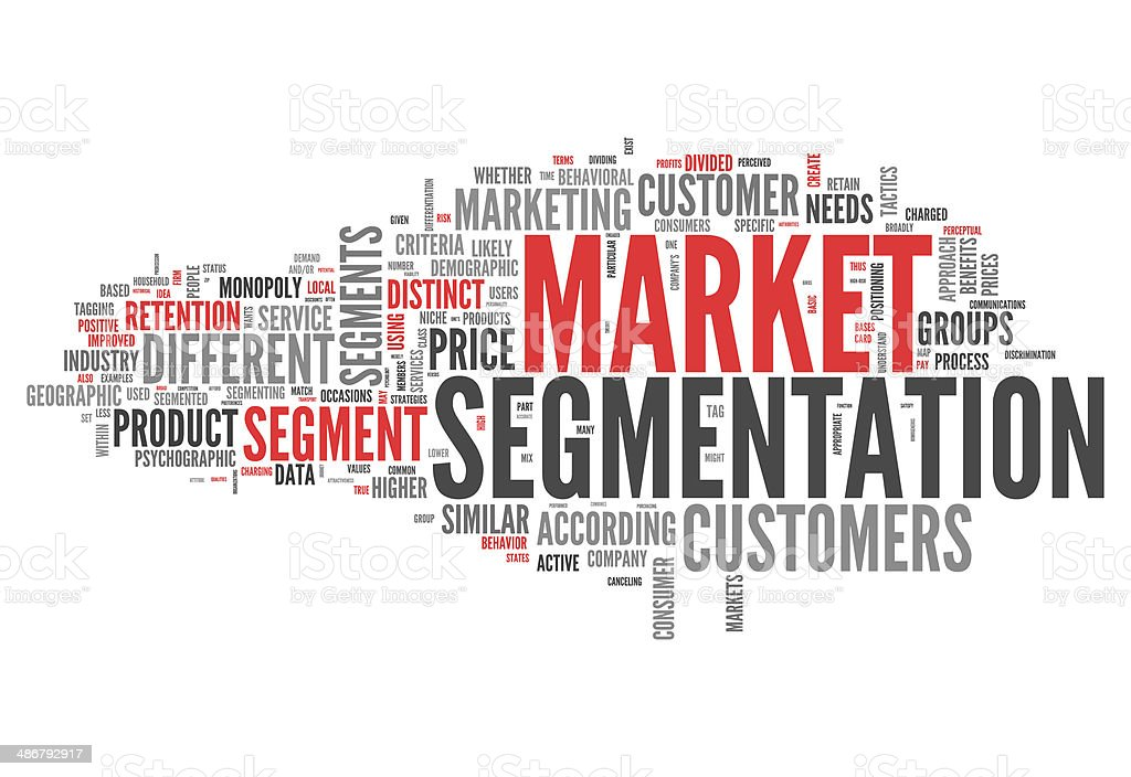 Word Cloud Market Segmentation vector art illustration