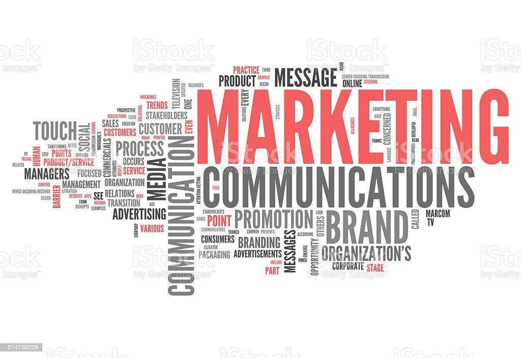 Word Cloud Marketing Communications vector art illustration