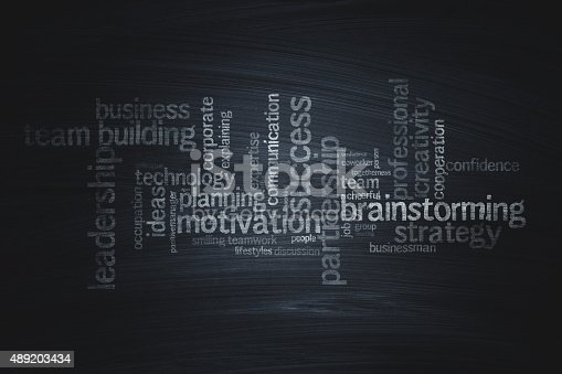 Close-up business word cloud on the blackboard. Stock photo.