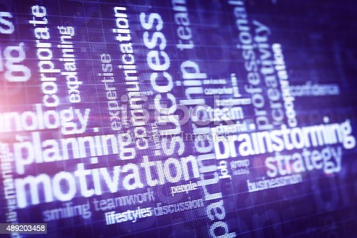 Close-up business word cloud on LCD display. Business Background. Stock photo.