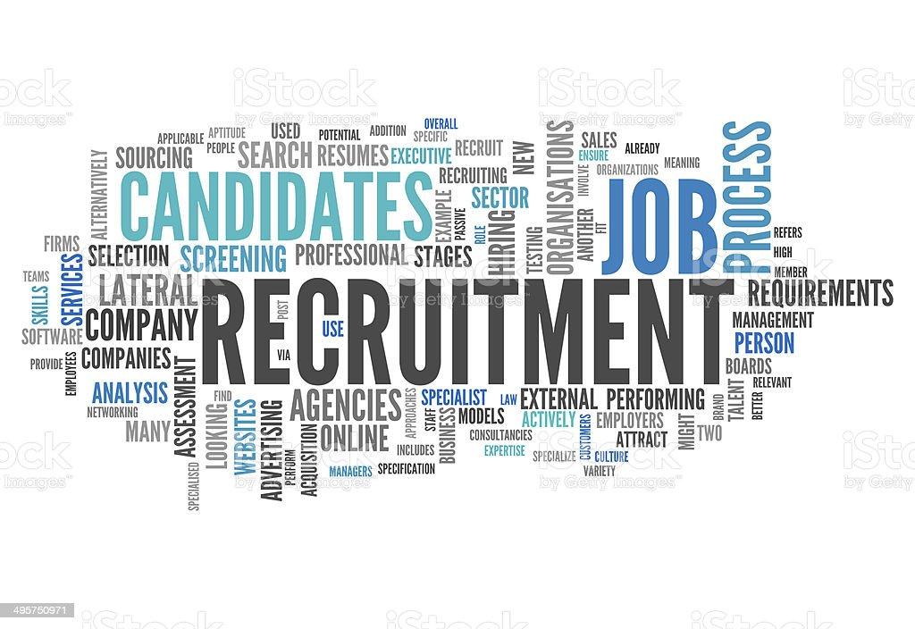 Word Cloud Recruitment vector art illustration