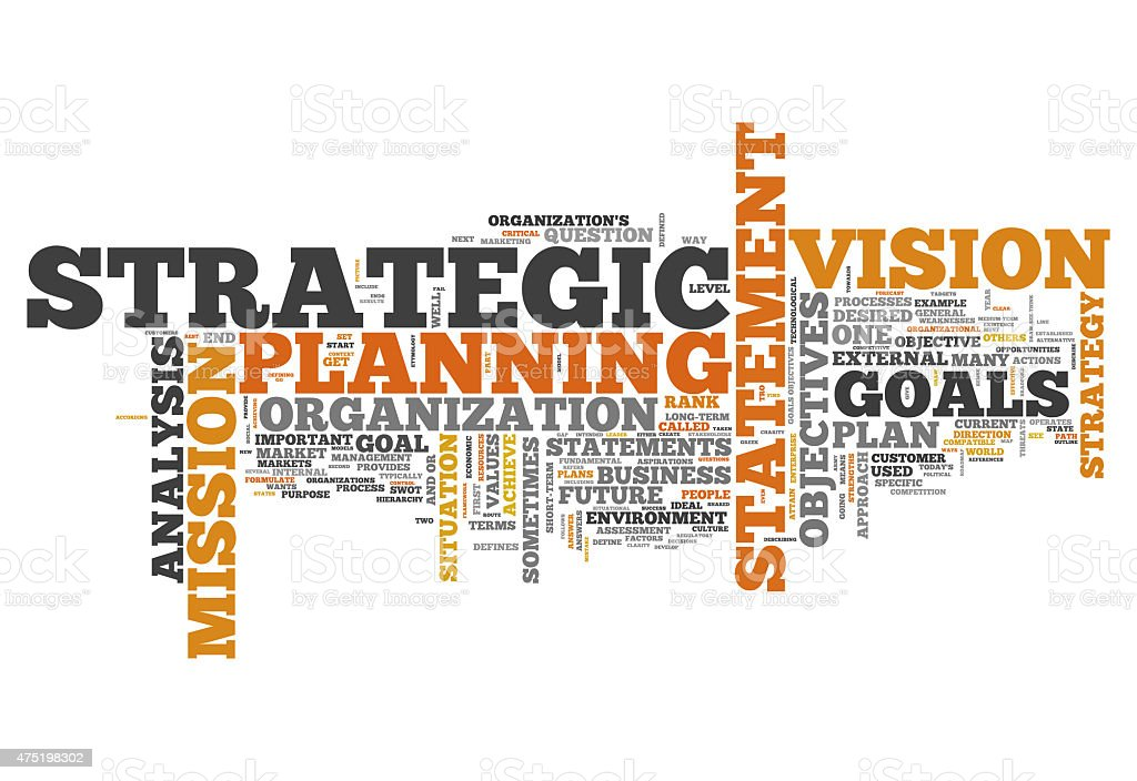 Word Cloud Strategic Planning vector art illustration
