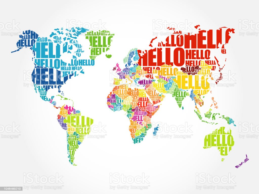 Australia Word Map.Hello Word Cloud World Map Stock Illustration Download Image Now