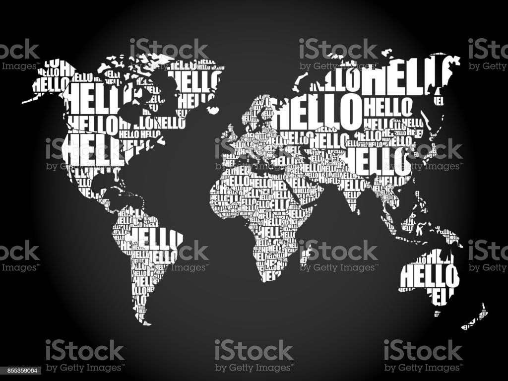 Hello word cloud world map in typography stock vector art more hello word cloud world map in typography royalty free hello word cloud world map in gumiabroncs Images