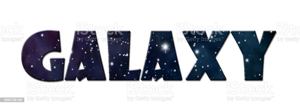 Word Galaxy Isolated On White Background Lettering Design