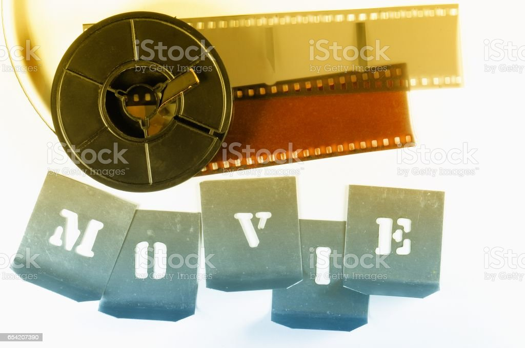 Word Movie Made With Metallic Stencils Red Yellow Film