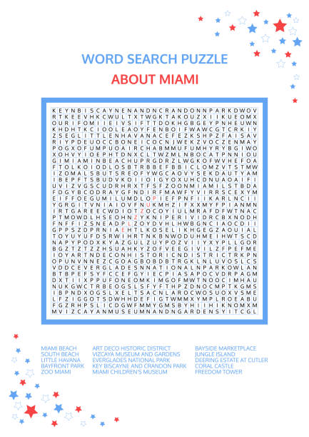 Word search puzzle. Game about Miami. Worksheet for adults, teenagers and children.  Advanced level of complexity. Colorful printable version. Famous city of the United States of America. USA. Word search puzzle. Game about Miami. Worksheet for adults, teenagers and children.  Advanced level of complexity. Colorful printable version. Famous city of the United States of America. USA. art deco district miami stock illustrations