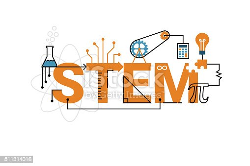 Illustration of STEM education word typography design in orange theme with icon ornament elements