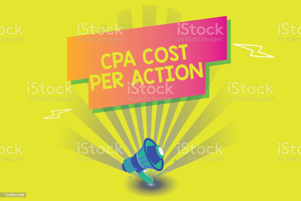 Word writing text Cpa Cost Per Action. Business concept for Commission paid when user Clicks on an Affiliate Link vector art illustration