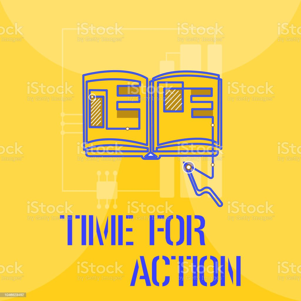 Word writing text Time For Action. Business concept for getting ready to start doing encouragement Go fast vector art illustration