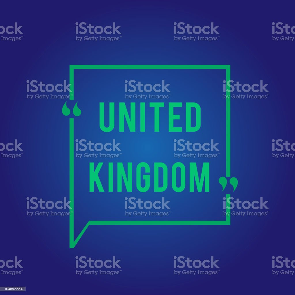 Word writing text United Kingdom. Business concept for Island country located off the northwestern coast of Europe vector art illustration