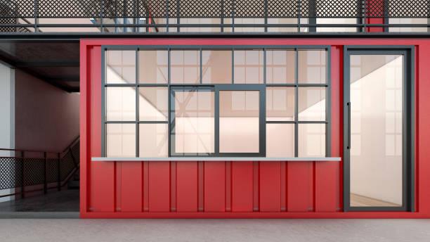 illustrations, cliparts, dessins animés et icônes de travailler sur les conteneurs d'expédition rouge, rendu 3d - architecture intérieure beton