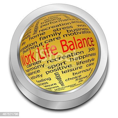 golden work life balance button