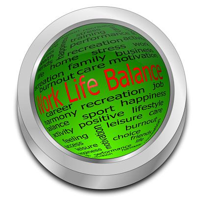 decorative green work life balance button